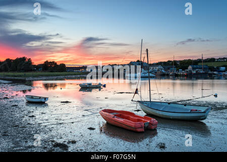Boats at dusk on the River Tamar at Millbrook in Cornwall - Stock Photo