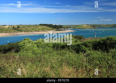 Glorious summers day on the Camel estuary, view towards Rock, Padstow, North Cornwall, England, UK - Stock Photo