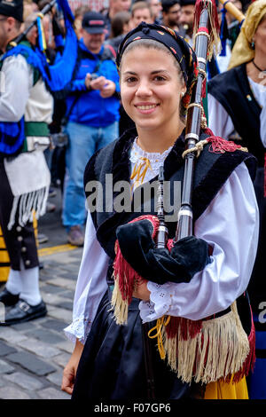A piper from Banda De Gaitas Resping from Madrid, Spain at Pipefest 2015 Edinburgh - Stock Photo