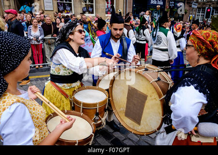 Drummers from Banda De Gaitas Resping from Madrid, Spain at Pipefest 2015 Edinburgh - Stock Photo
