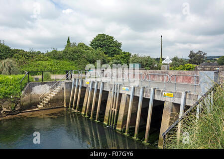 The Tidal Barrier on the Hayle river in Cornwall, UK - Stock Photo