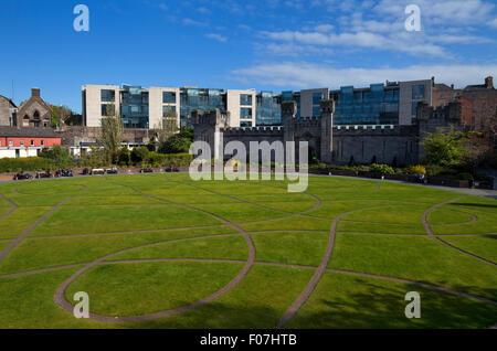 Dubh Linn Gardens Behind Dublin Castle, Dublin City, Ireland - Stock Photo