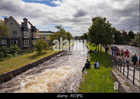 The Corrib Walk beside the River Corrib, Galway City, Ireland - Stock Photo