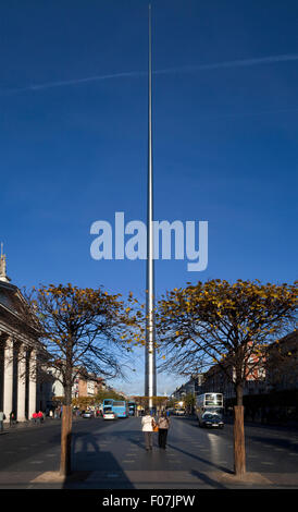 Spire of Dublin, officially titled the Monument of Light, tall stainless steel sculpture,  O'Connell Street in Dublin, - Stock Photo