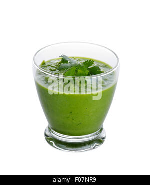 Glass of Healthy Green Smoothie Isolated on White Background - Stock Photo