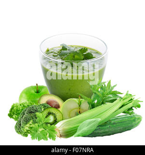Glass of Healthy Green Smoothie with Ingredients Isolated on White Background - Stock Photo