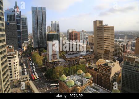 Downtown Sydney skyline viewed from the Sydney Hilton Hotel looking south-west along George Street toward Sydney - Stock Photo