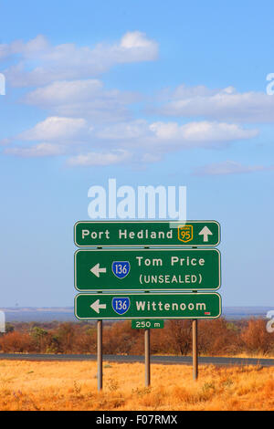 Road sign, Great Northern Highway, Western Australia. - Stock Photo