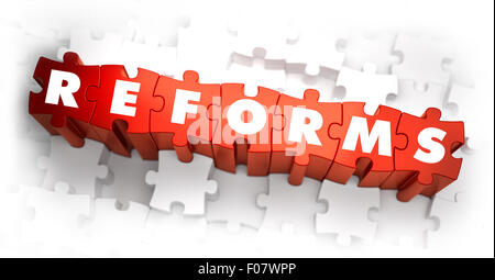 Reforms - White Word on Red Puzzles. - Stock Photo