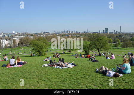 View of central London from Primrose Hill, London Borough of Camden, London, England, United Kingdom - Stock Photo