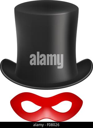 Gentleman hat and eye mask in red design - Stock Photo