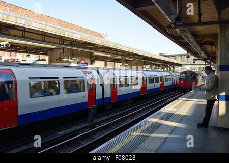 Platform at Acton Town Underground Station, Acton, London Borough of Ealing, London, England, United Kingdom - Stock Photo