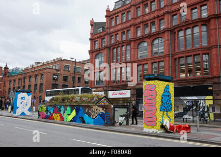 graffiti and street art in stevenson square Northern quarter Manchester uk - Stock Photo