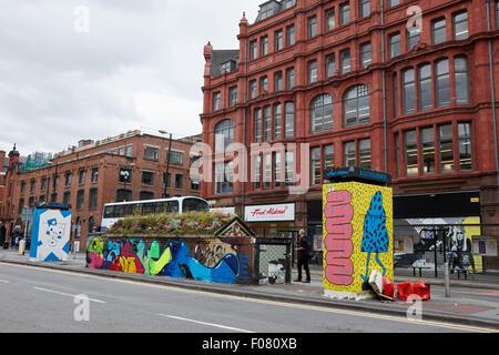 graffiti and street art in stevenson square Northern quarter Manchester uk - Stock Photo