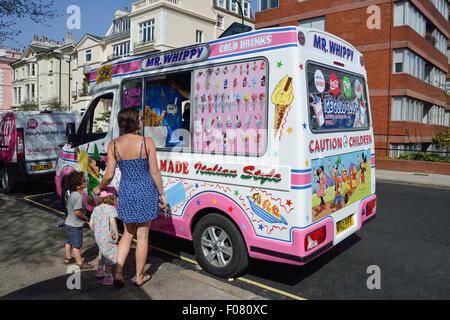 'Mr Whippy' ice cream van outside Primrose Hill, London Borough of Camden, London, England, United Kingdom - Stock Photo