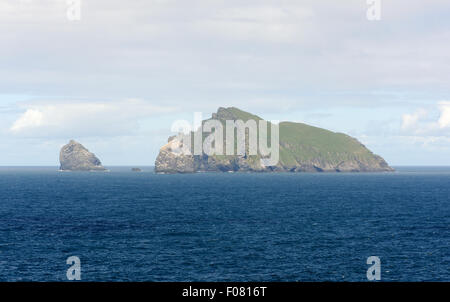 The island of Boreray and Stac Lee and Stac an Armin, all part of the St Kilda archipelago. - Stock Photo