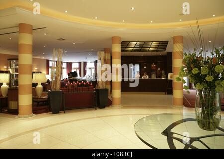 View of reception area in hotel, Austria - Stock Photo