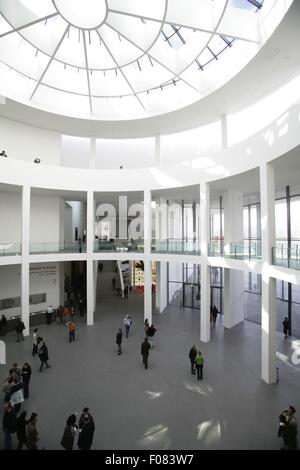 People in Pinakothek der Moderne Museum in Munich, Germany - Stock Photo