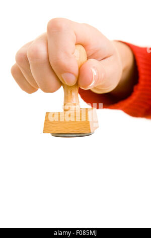 Female arm with a stamp in the hand - Stock Photo