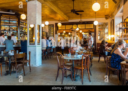 New York City, USA, Meat Packing District, People Sharing Meals in Traditional French Bistro Restaurant Dining Room, - Stock Photo