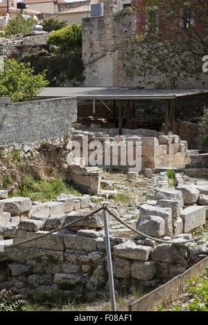 Archaeological of ruin Malia Minoan Palace in Crete, Greece - Stock Photo