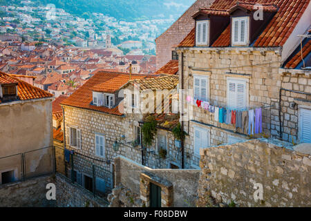 Dubrovnik, Croatia, with its characteristic medieval city walls. Dubrovnik is a Croatian city on the Adriatic Sea. - Stock Photo