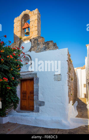 Chapel in the town of Chora on Patmos island in Greece. - Stock Photo