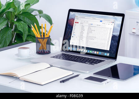 Varna, Bulgaria - May 29, 2015: Google Gmail email inbox interface on the Apple MacBook Pro screen that is on office - Stock Photo