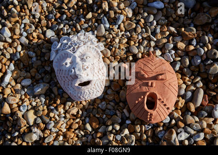 Deal, Kent, UK, Sunday 9th August 2015. Cabbo masks on Deal beach. Following an ancient local tradition where the - Stock Photo