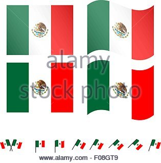 Mexico Flags EPS 10 - Stock Photo