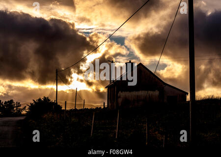 Old National school at Crowlar or Crove near Ardara, County Donegal, Ireland - Stock Photo