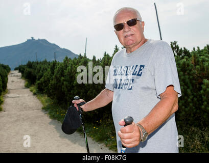 Former Czech president Vaclav Klaus during the annual St. Lawrence pilgrimage to the Snezka Mountain (1602 MASL), - Stock Photo