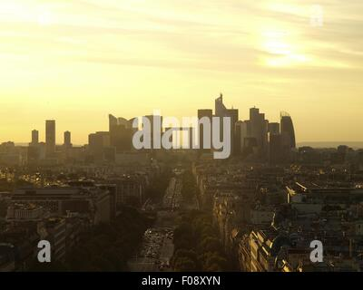 View of La Defence skyscrapers and cityscape at sunset in Paris, France - Stock Photo
