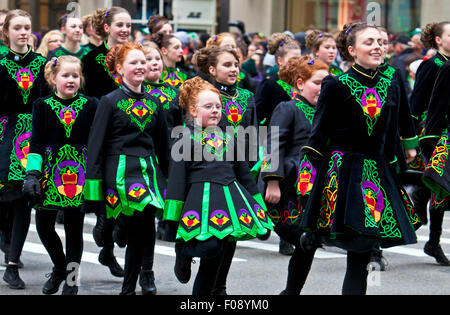 NEW YORK, NY, USA - MAR 16: People at the St. Patrick's Day Parade on March 16, 2013 in New York City, United States. - Stock Photo