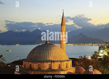 View of dome of Tekeli Mehmet Pasa Mosque in evening, Antalya, Turkey - Stock Photo