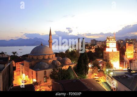 View of illuminated Tekeli Mehmet Pasa Mosque in Antalya, Turkey - Stock Photo