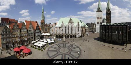 View of Bremen Town Hall and St Perti Dom in Bremen, Germany - Stock Photo