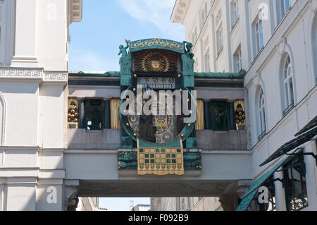 The Ankeruhr musical mechanical clock in Vienna - Stock Photo