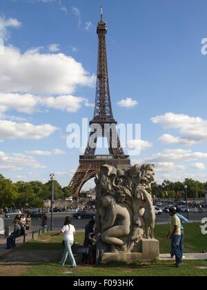 Monument in front of Eiffel Tower, Paris, France - Stock Photo
