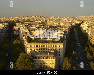 View of cityscape and Place Charles-de-Gaulle at dawn in Paris, France - Stock Photo