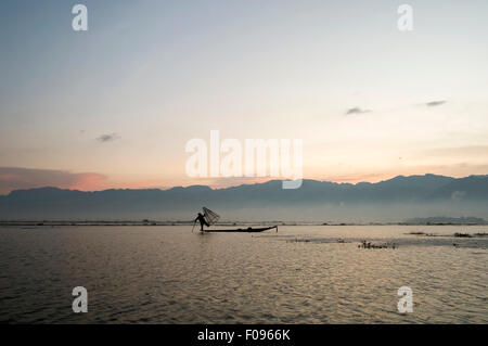 Inle Lake , Myanmar. Fisherman at sunrise - Stock Photo