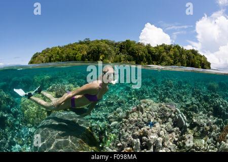 Snorkeling at Solomon Islands, Marovo Lagoon, Solomon Islands - Stock Photo