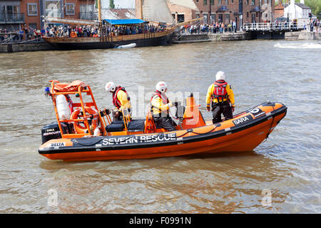 Inshore lifeboat of the Severn Area Rescue Association (SARA) at the Gloucester Tall Ships Festival 2015 in Gloucester - Stock Photo