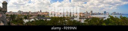 Horizontal (4 picture stitch) panoramic view of Havana, Cuba. - Stock Photo