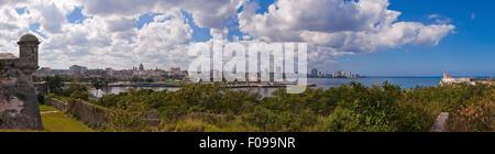 Horizontal (3 picture stitch) panoramic view of Havana, Cuba. - Stock Photo