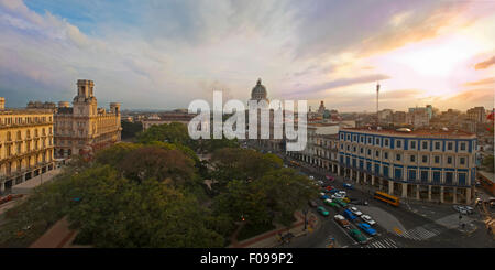 Horizontal (2 picture stitch) aerial panoramic view of in Havana, Cuba. - Stock Photo