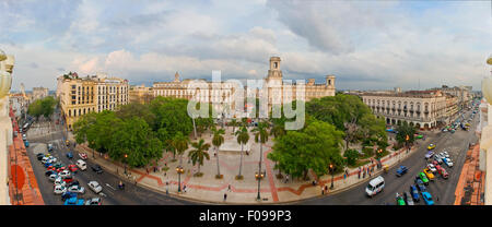 Horizontal (3 picture stitch) aerial panoramic view of in Havana, Cuba. - Stock Photo