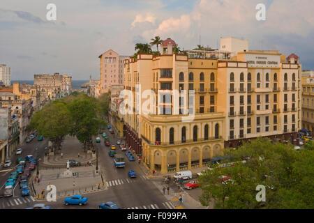 Horizontal aerial street view in Havana, Cuba. - Stock Photo
