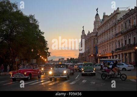 Horizontal evening street view in Havana, Cuba. - Stock Photo