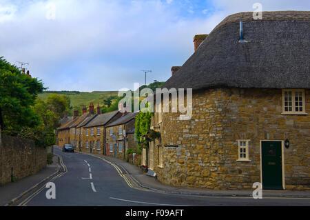 Horizontal streetview in the village of Abbotsbury, - Stock Photo
